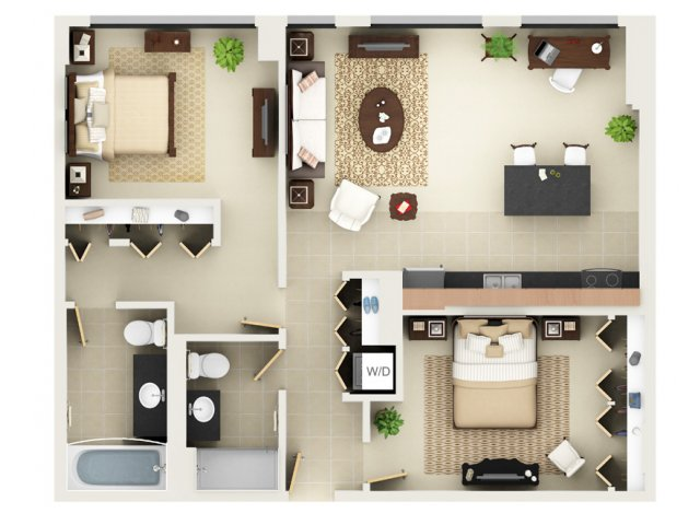 Two Bedroom Two Bathroom Floor Plan B4