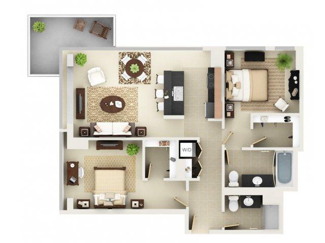 Two Bedroom Two Bathroom Floor Plan B5