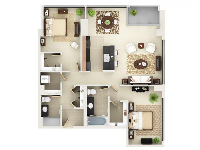 Two Bedroom Two Bathroom Floor Plan B6
