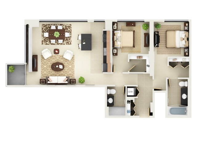 Two Bedroom Two Bathroom Floor Plan B7
