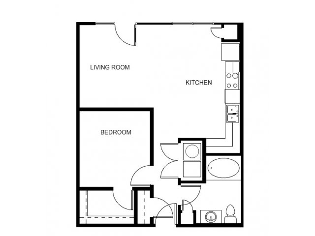 One bedroom, one bathroom, one walk in closet, laundry room, hvac room, pantry, living room, kitchen A1a- 1 floor plan, 698 square feet.