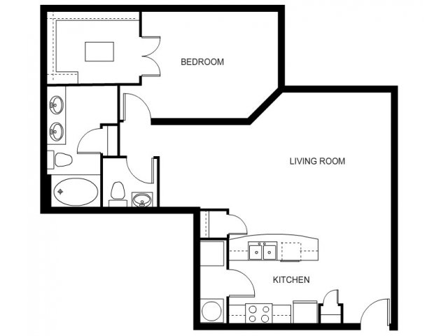 One bedroom, one bathroom, one walk in closet, laundry room, hvac room, pantry, living room, kitchen A3- 1 floor plan, 954 square feet.