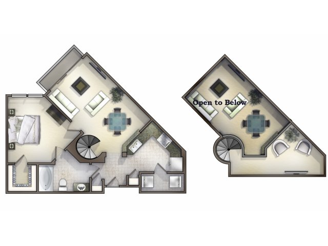 A1-4 one bed, one bath with open loft upstairs and balcony