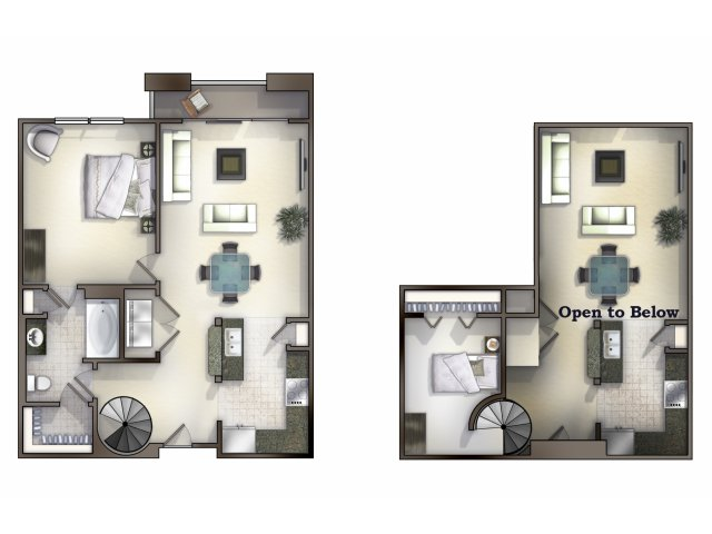 A6,7, 8 two bed, one bath with one bedroom upstairs and balcony