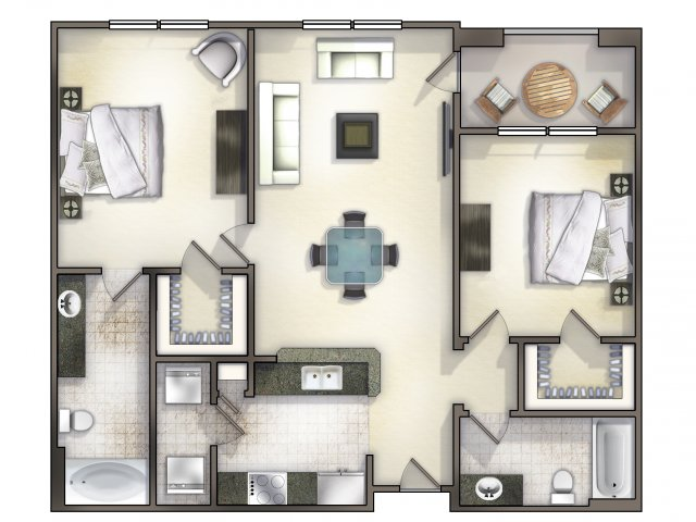 B1 two bed, two bath with large closet space and balcony