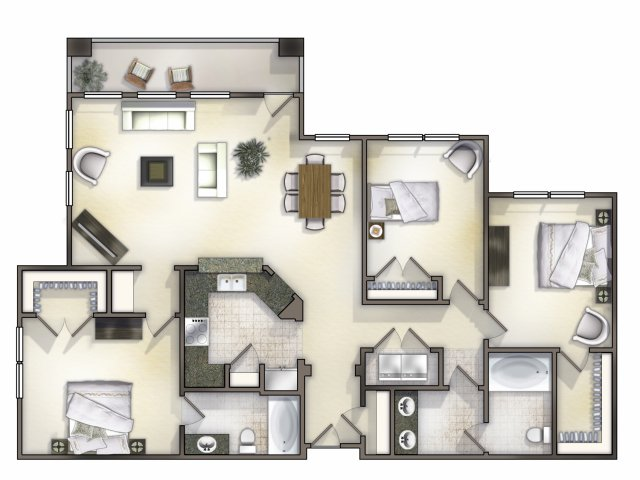 C1 three bedroom, two bath with open concept living room and balcony