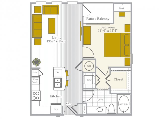 1 bedroom 1 bath apartment with kitchen island, private patio and 741 square feet