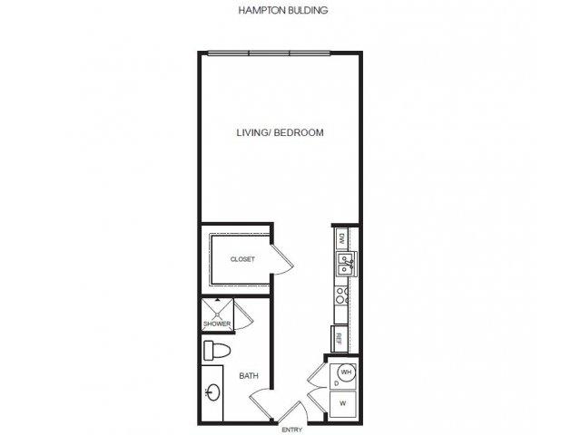 E1H studio, one bath with large closet
