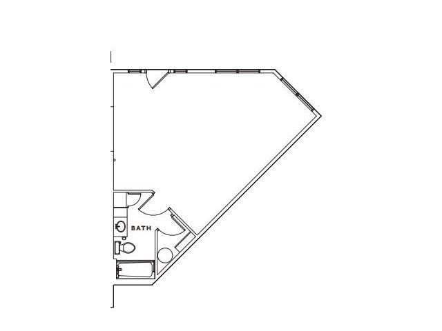 E2 studio, one bathroom and closet