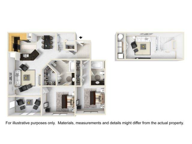 Knightsbridge Loft 2BR/2BA 1466 square feet