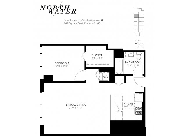 One Bedroom One Bathroom Floor Plan 1P Penthouse