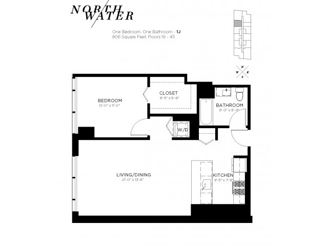 One Bedroom One Bathroom Floor Plan 1J