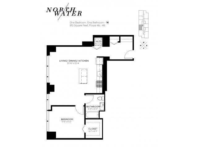 One Bedroom One Bathroom Floor Plan 1K Penthouse