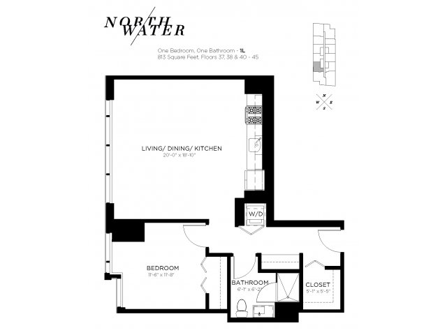 One Bedroom One Bathroom Floor Plan 1L