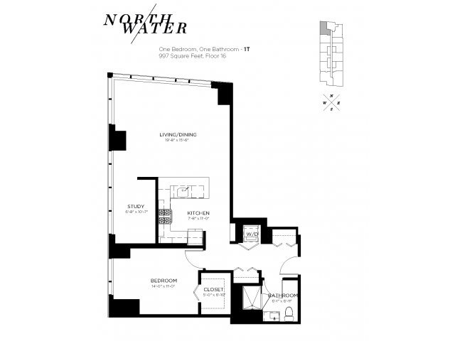 One Bedroom One Bathroom Floor Plan 1T