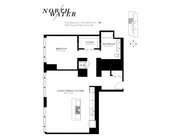 One Bedroom One Bathroom Floor Plan 1U Penthouse