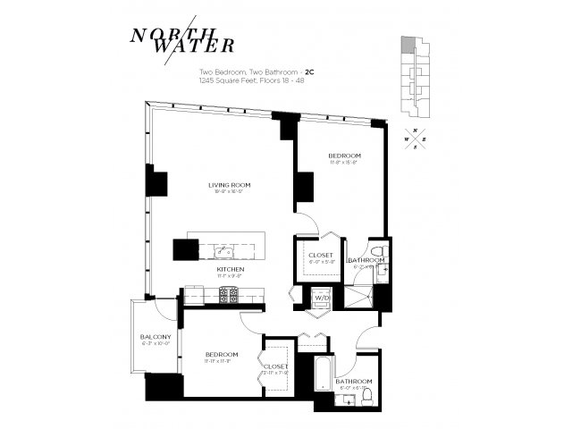 Two Bedroom Two Bathroom Floor Plan 2C