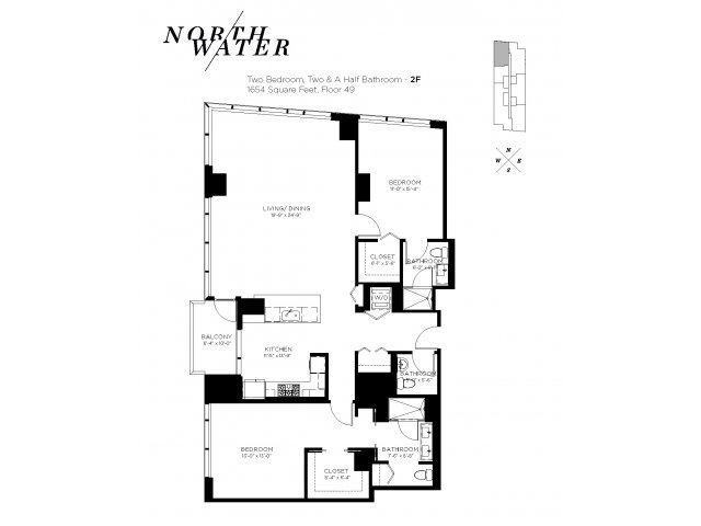 Two Bedroom 2.5 Bathroom Floor Plan 2F Penthouse