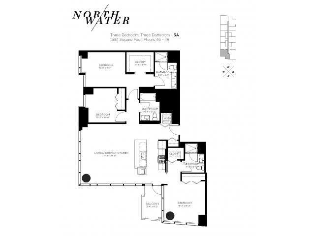 Three Bedroom Three Bathroom Floor Plan 3A Penthouse