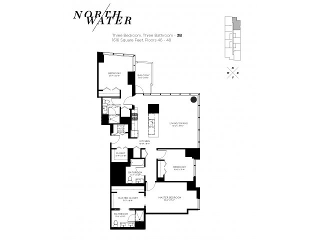 Three Bedroom Three Bathroom Floor Plan 3B Penthouse