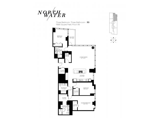 Three Bedroom Three Bathroom Floor Plan 3D Penthouse