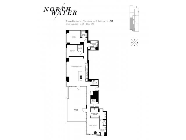 Three Bedroom 2.5 Bathroom Floor Plan 3E Penthouse