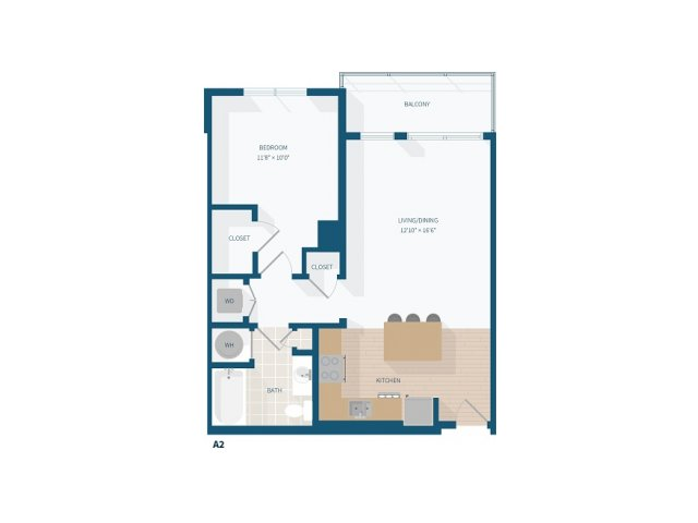 1 Bedroom - A2 - 764 Sq Feet
