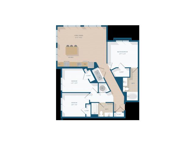 3 Bedroom - 1358 square feet