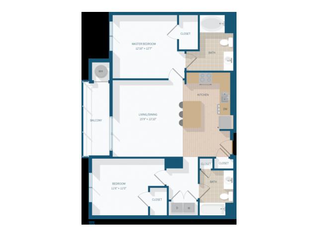 2 Bedroom - B2 - 1,115 Square Feet
