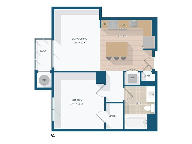 1 Bedroom - A1 - 718 Square Feet