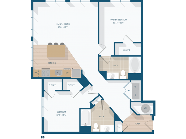 2 Bedroom -  B6 - 1248 Square Feet