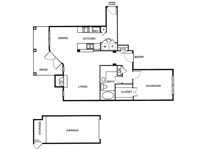 A5 one bed, one bath with attached garage, dining room and patio