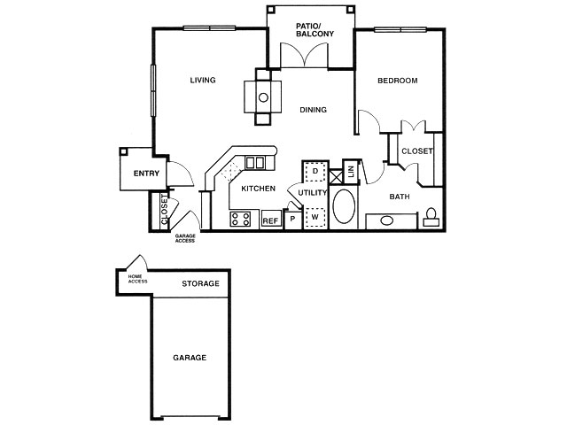 A6 one bed, one bath with attached garage, dining room and patio/balcony