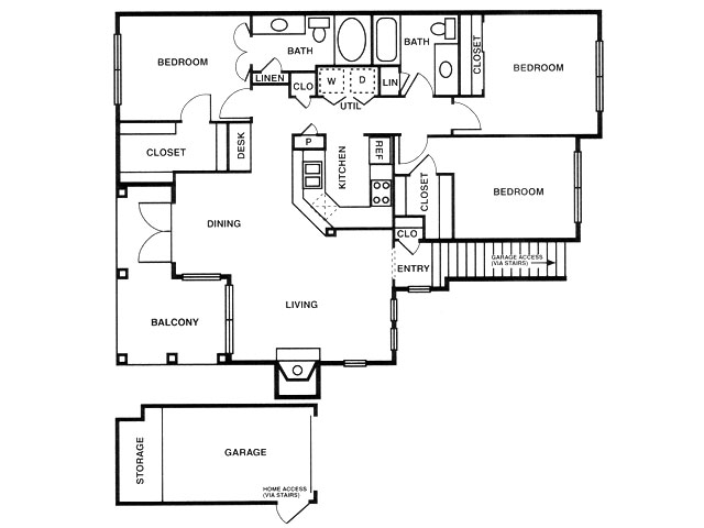 C1 three bed, two bath with dining room, attached garage and balcony