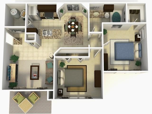 Doral Upgrade two bedroom one bathroom 3D floor plan