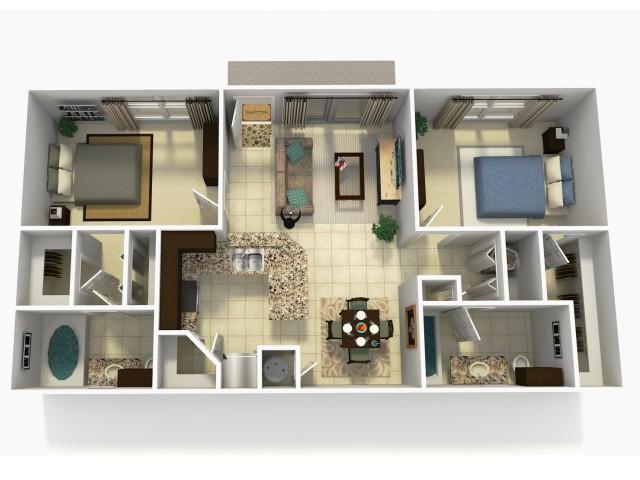 Espana Upgrade two bedroom two bathroom 3D floor plan
