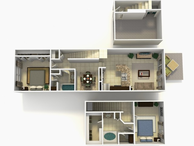 Lisbon Rehab two bedroom two bathroom town home with single car garage 3D floor plan