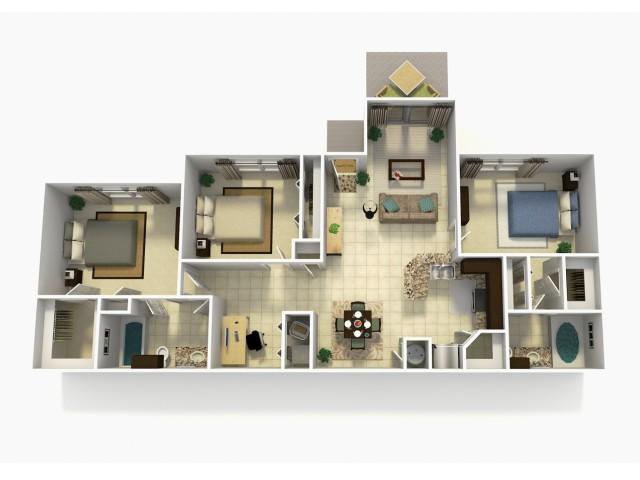 Almeria Upgrade three bedroom two bathroom with den 3D floor plan