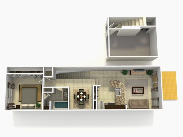Sevilla Rehab one bedroom one bathroom town home with single car garage 3D floor plan