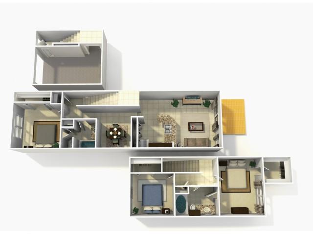 Coronado Rehab three bedroom two bathroom town home with single car garage 3D floor plan