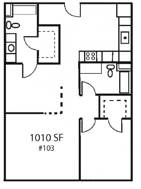 A2H one bedroom, one bath with additional den space
