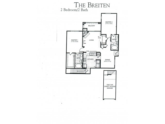 Breiten two bed, two bath with attached garage, dining room and balcony