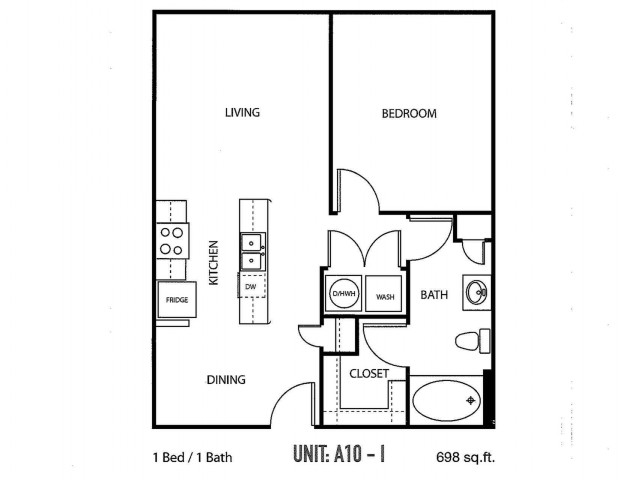 One bedroom, one bathroom, one walk in closet, laundry room, hvac room, pantry, living room, kitchen A10- 1 floor plan, 698 square feet.