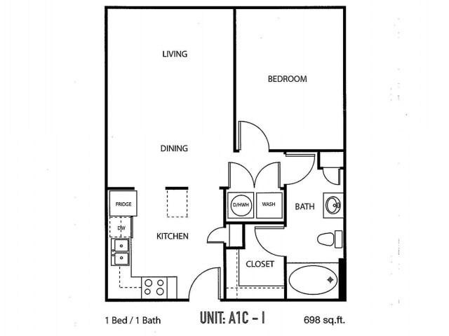 One bedroom, one bathroom, one walk in closet, laundry room, hvac room, pantry, living room, kitchen A1C- 1 floor plan, 698 square feet.