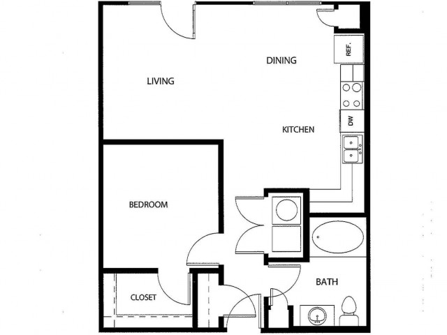 One bedroom one bath, kitchen, kitchen pantry, living room, dining room, laundry room, one closet and patio, A1A-2 floor plan, 698 square feet