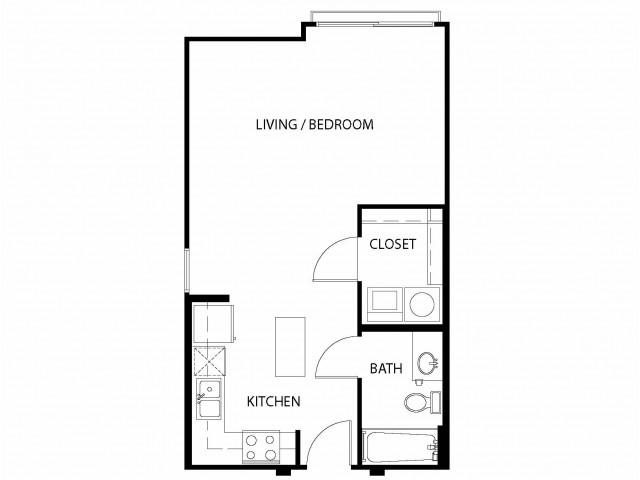 Studio/ one bathroom, kitchen, walk in closet, coat closet, laundry room, E3-4 floor plan, 524 square feet.