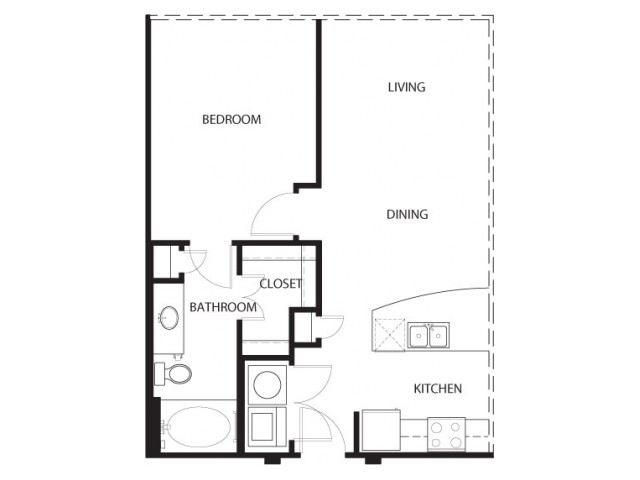 One bedroom one bath, kitchen, kitchen pantry, living room, dining room, laundry room, one, A0- 5 floor plan, 673 square feet.