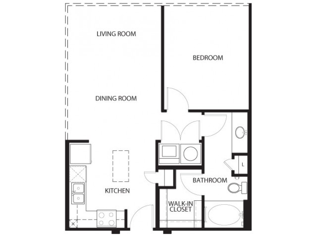 One bedroom one bath, kitchen, kitchen pantry, living room, dining room, laundry room, one, A1C- 5 floor plan, 702 square feet.