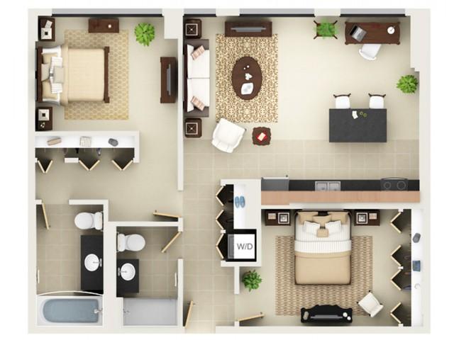 Two Bedroom Two Bathroom Floor Plan B8