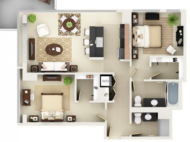 Two Bedroom Two Bathroom Floor Plan B9